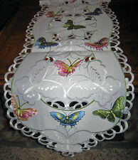 "Lacy Butterfly Garden Spring Decor Table Runner Dresser Scarf Embroidered 68""x13"