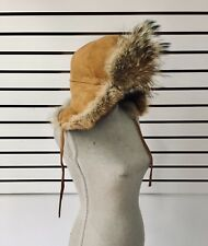 Surell Coyote Trooper Hat with Suede Crown - Warm Cozy Gift