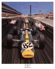 1965 Jim Clark And The Lotus 38 Leads Foyt, Gurney,Jones In Turn One Car Poster!