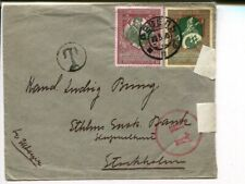 Estonia 3 and 1k charity issue on postage due censor cover to Sweden, Reval 1915