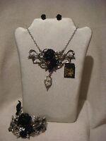 Alchemy Gothic pendant necklace, earring & bracelet set in pewter Bacchanal Rose