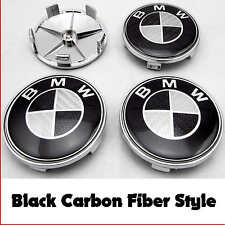 BMW E46 E60 E81 E87 E90 E91 BLACK CARBON FIBER ALLOY WHEEL CENTER CAPS 68mm x4