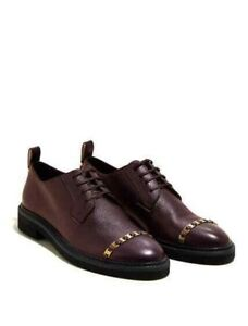 Salvatore Ferragamo Women's Policoro Brown Casual Combat Studded Shoes Size 8