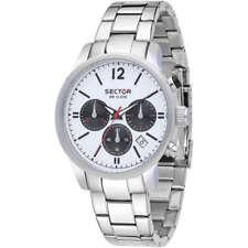 Sector Orologio Watch R3273693003 Cronografo Acciaio Data Bianco Nero Black New
