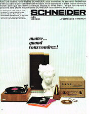 PUBLICITE ADVERTISING 114  1966  SCHNEIDER  hi-fi   platine haut-parleurs