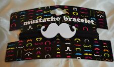 Mustache Bracelet, White Metal Mustache on Black Elastic Double Cord, wrist, fun