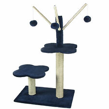Blue Cat Kitten Scratching Post Tree Scratcher Activity Centre Sisal Pom Pom's