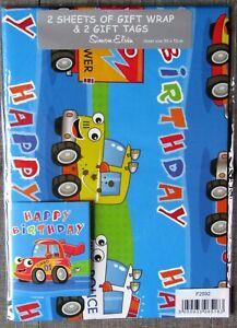 Cars Theme Childs Gift Wrap - 2 Sheets 70 x 50cm With Matching Gift Tags