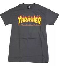 "New Thrasher Skateboard Magazine ""Flame Logo"" T-Shirt (Charcoal) Size L"