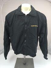 Vintage Mid-America Black gold stitched Corvette full zip windbreaker jacket L