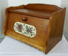 Vintage Solid Wood Wooden Bread Box Breadbox with Door Tile Inlay Fruit Motif