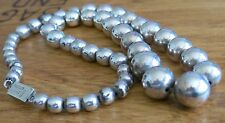"""Vintage TAXCO MEXICO Graduated Sterling Silver Bead NECKLACE 23"""" 1970s"""