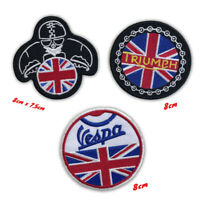 Vespa Triumph Union jack classic biker badges Iron or Sew on Embroidered patches