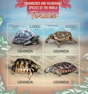 Uganda Turtles Stamps 2013 MNH Tortoises Endangered Species Reptiles 4v M/S