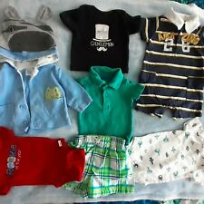 8 pc lot. Baby boys striped blue, red, green, black bodysuits & shorts 3 months