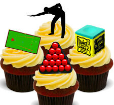 Snooker Player  Pack of 12 Edible Cup Cake Toppers, Fairy Bun Decorations