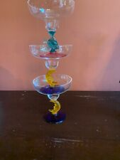 3 Vintage Outdoor  Multicolored Margarita Glasses With Fish And Moons