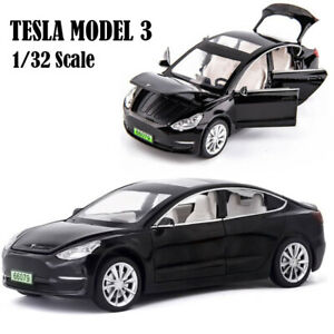 1/32 Tesla Model 3 Diescast Model Car Toy Sound&Light Collectible Kids Toy Gift