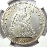 1848 Seated Liberty Silver Dollar $1 - Certified NGC AU Details - Rare Date Coin