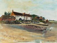 Sylvia Green - 1983 Oil, Boat Houses on a Beach