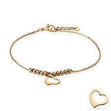 Dangling Heart and Multi Beads Chain Rose Gold Stainless Steel Anklet Bracelet