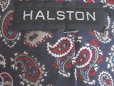 Halston Paisley Tie 100% silk navy blue red  light grey white designer patterned