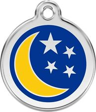 Moon & Stars Enamel/Solid Stainless Steel Engraved ID Dog/Cat Tag