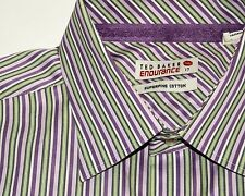 TED BAKER Endurance Men's Button Front Dress Shirt Purple Green Striped Size 17