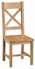 PAIR OF HEREFORD MODERN OAK CROSS BACK DINING CHAIR WOODEN SEAT