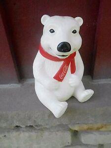 "Vintage Piggy Bank - 8"" COCA COLA polar bear ALWAYS bank (S21C)"