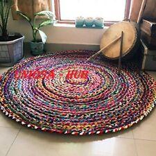 Rug Jute & cotton multi color  4x4 hemp carpet reversible home living decor Rug