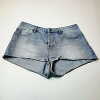 Roxy Button Fly Light Wash Rolled Hem Denim Shorts Summer Beach Size 31