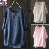 Women Long Sleeve Crew Neck Casual Baggy Cotton Top Shirt Blouse Plus Size S-5XL
