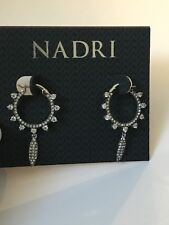 Cardamom Charm Hoop Earrings NADRI Silver Tone