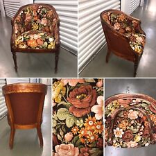 Vintage Retro Wooden Floral Tub Chair Reupholstered Sanderson Fabric