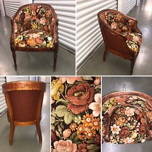 🌟Vintage Retro Wooden Floral Tub Chair Reupholstered Floral Sanderson Fabric