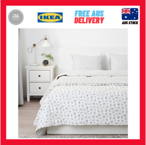 IKEA SANDLUPIN Bedspread White Grey 260x250cm Soft Quilted Cosy Warm Snuggle