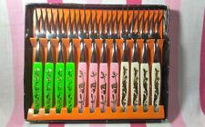 Mid Century Vintage Set of 12 Cocktail Appetizer Forks Original Box Stainless