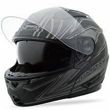 GMAX GM64 Modular Helmet Derk (Flat Black/Silver) Choose Size