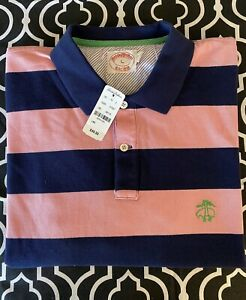 NWT Vintage Brooks Brothers polo shirt short sleeve pink blue striped L large