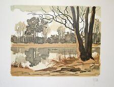 L'arbre au bord de la rivière : Lithographie originale signée de YAN Robert