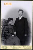 Larger size Cabinet Card young couple by Max Wörsdörfer, Berlin 1900's Germany