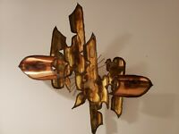 Mid Century Abstract Brutalist Metal Wall Sculpture Torch Art Copper