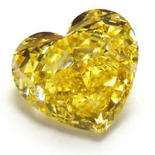 1.07ct Yellow Diamond - Natural Loose Fancy Yellow Color GIA Heart SI1 Canary