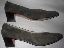 SALVATORE FERRAGAMO Women's Shoes - Green Olive Suede Pumps Mid Heel Size 9.5 M