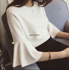Chic Korean Women Summer Chiffon Flare Sleeve Loose Slim Tunic Blouse Tops Shirt