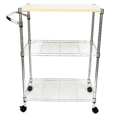 3-Tier Steel Rolling Kitchen Trolley Cart Storage Serving Island Utility Silver