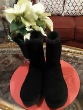 New UGG Size 8M Black Short High Low Fluffy Boots.