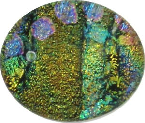 """""""Justina 17mm x 20mm """" beautiful hand made Fused Dichroic Glass Cabochon RELEI"""