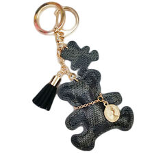 Fashion Teddy Bear Leather Tassel Key Ring Car Bag Charm Keychain Keyring 1Pc